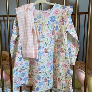 NWT Mud Pie Muslin Floral Dress and Leggings Set